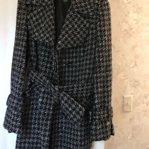 Armani Exchange Grey/Black Houndstooth Peacoat